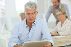 Portrait of senior people in computing class using tablet. Portrait of senior men working on tablet, training class Royalty Free Stock Photo