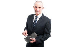 Portrait of senior showing his credit card in wallet Royalty Free Stock Photo