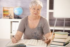 Portrait of senior teacher working Stock Images