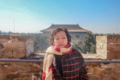 Portrait of Senior Tourist in Ming Dynasty Tombs Beijing royalty free stock images