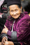 He portrait of senior tribal Hmong woman in national clothes, Vietnam Royalty Free Stock Photos