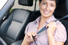 Portrait of senior woman in a car royalty free stock image