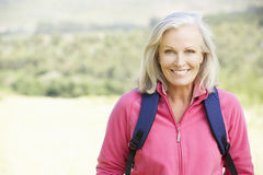 Portrait Of Senior Woman On Hike Royalty Free Stock Image
