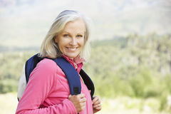 Portrait Of Senior Woman On Hike Royalty Free Stock Photos