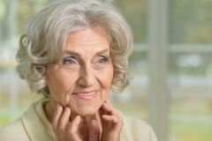 Portrait of senior woman  posing. At home Royalty Free Stock Photos