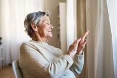 A portrait of a senior woman sitting at home, looking out of a window. A portrait of a senior woman sitting on a chair at home, looking out of a window royalty free stock photo