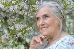 senior woman in summer park Royalty Free Stock Photography