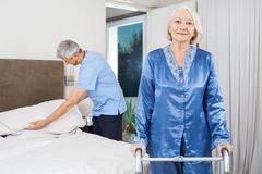 Portrait Of Senior Woman With Walking Frame At Royalty Free Stock Photo