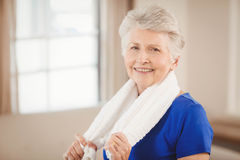 Portrait of senior woman after a workout. Portrait of senior woman smiling after a workout Royalty Free Stock Photo