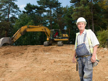 Portrait of senior worker on construction site Stock Photography