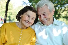 Portrait of seniors outside Royalty Free Stock Photo