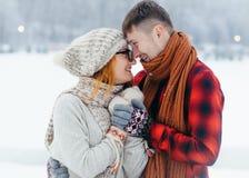 Portrait sensible d'hiver d'étreindre affectueux de sourire des couples et de nez émouvants Photo stock