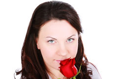 Portrait of sensual beautiful woman with red rose Royalty Free Stock Photography