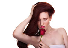 Portrait of sensual beautiful woman with rose Royalty Free Stock Photos