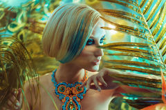 Portrait of a sensual blond lady in the tropics. Portrait of a sensual blond girlfriend in the tropics Royalty Free Stock Photos
