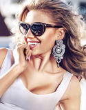 Portrait of a sensual blonde with a holywood smile Royalty Free Stock Image