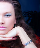 Portrait of a sensual brunette with blue eyes Stock Photo