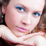 Portrait of a sensual brunette with blue eyes Royalty Free Stock Photos