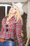 Portrait of Sensual Caucasian Blond Cowgirl Royalty Free Stock Photo
