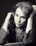 Portrait of sensual cute young woman. Classic portrait of sensual cute young woman stock images