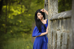Portrait Of Sensual Fashion Woman In Blue Dress Outdoor Stock Images