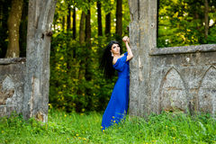Portrait Of Sensual Fashion Woman In Blue Dress Outdoor Stock Photography