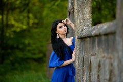 Portrait Of Sensual Fashion Woman In Blue Dress. Portrait of sensual fashion young woman in blue dress outdoor Royalty Free Stock Photo