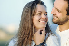 Portrait of sensual happy young couple in love posing on summer Royalty Free Stock Photos