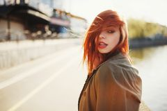 Sensual red haired beautiful girl Stock Images