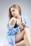 Portrait of Sensual Sexy Caucasian Blond Female Showing Flirting Stock Image