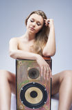 Portrait of Sensual Sexy Caucasian Blond Woman with Loudspeaker Royalty Free Stock Image