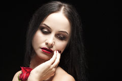 Portrait of Sensual Vulnerable Caucasian Brunette Woman Royalty Free Stock Images