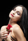 Portrait of Sensual Vulnerable Caucasian Brunette Woman Posing With Rose Stock Image