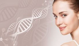 Portrait of sensual woman in DNA chains. Stock Images