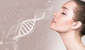 Portrait of sensual woman in DNA chains. royalty free stock photos