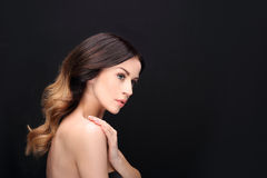 Portrait of sensual woman laying hair Royalty Free Stock Photo