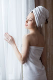 Portrait of sensual woman posing after shower Royalty Free Stock Images