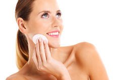 Portrait of a sensual woman removing makeup Royalty Free Stock Photos