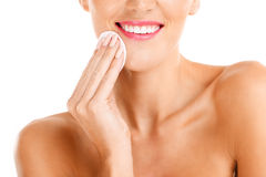 Portrait of a sensual woman removing makeup Royalty Free Stock Image