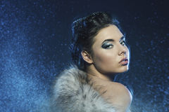 Portrait of sensual woman with snow Stock Image