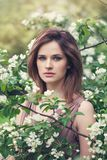 Portrait of sensual woman in spring blossom garden. Natural beauty.  stock photo
