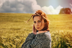 Portrait of sensual young red hair woman on breathtaking view of Stock Image