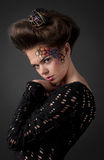 Portrait of sensual young woman with art make-up Royalty Free Stock Photos