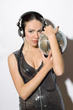 Portrait of sensual young woman in headphones Royalty Free Stock Images
