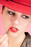 Portrait of sensuality stylish woman in red hat Royalty Free Stock Photo