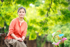 Portrait of serene mature woman Stock Photography