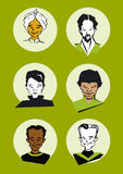Diversity Men Faces- Cartoon Royalty Free Stock Photography