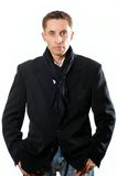 Portrait of serious adult man  in black coat Royalty Free Stock Photo