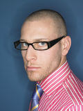 Portrait Of Serious Bald Man In Glasses Royalty Free Stock Photo