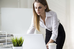 Portrait of a serious and beautiful businesswoman standing near her desk and working with her laptop. Mock up royalty free stock image